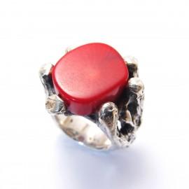 Ръчно изработен сребърен пръстен Усукано Дърво с Корал